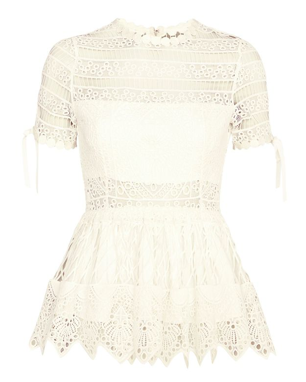 Alexis Juliana Embroidered Lace Frill Top