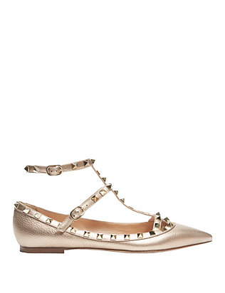 Valentino Rockstud Metallic Leather Ballet Flat