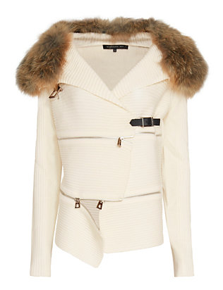 Barbara Bui Fur Collar Sweater: White
