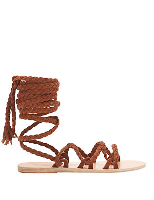 Ancient Greek Sandals Kariatida Knee High Gladiator Flat Sandals