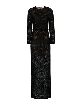 Alexis Kassidy Fringe Detail Lace Gown