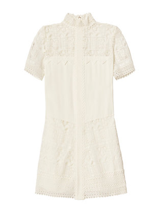 Alexis Katlin Lace Mock Neck Shift Dress: White