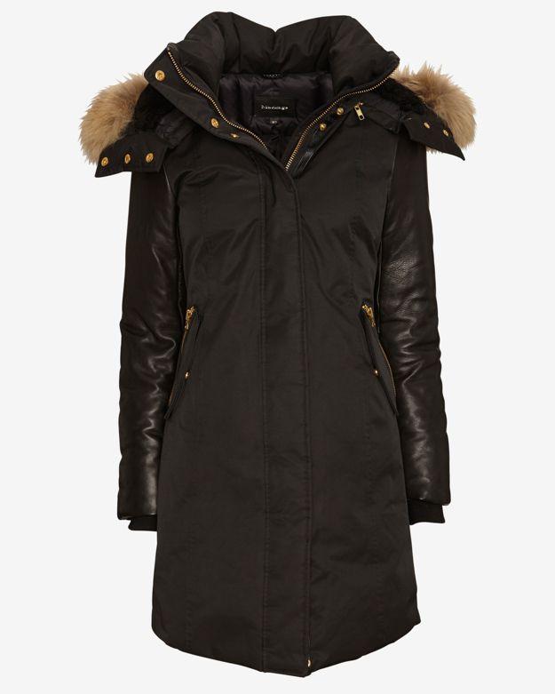 exclusive       mackage-exclusive-leather-sleeve-fur-hood-long-puffer-jacket by mackage