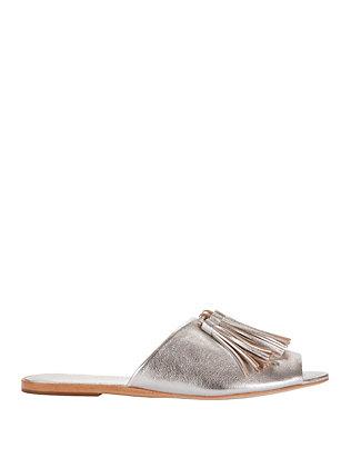 Kiki Metallic Tassel Slide Flat Sandals