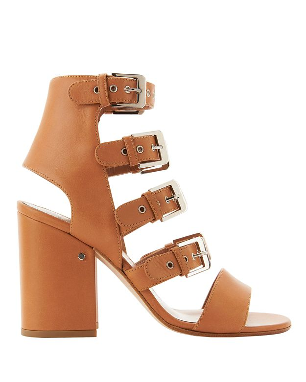 Kloe Buckled Leather Brown Sandals, Nude & Neutrals