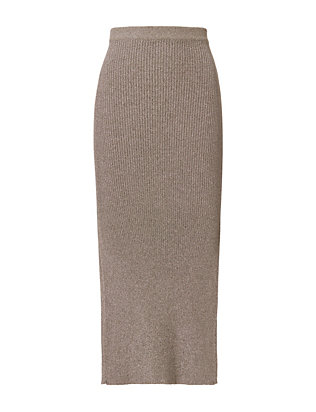 Mugler Silver Ribbed Knit Skirt
