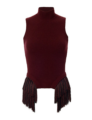 Fringe Trim Sleeveless Knit Sweater