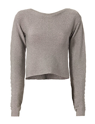 Mugler Open Back Metallic Cropped Sweater