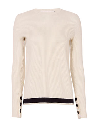 Victoria, Victoria Beckham Striped Hem Open Back Ribbed Sweater