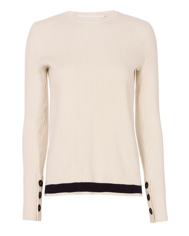 Victoria, Victoria Beckham Striped Hem Open Back Rib Knit