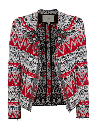 IRO Kroe Jacquard Crop Jacket: Black/Red