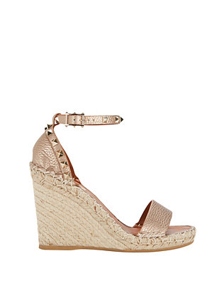 Valentino Rockstud Strap Metallic Leather Wedge Espadrille