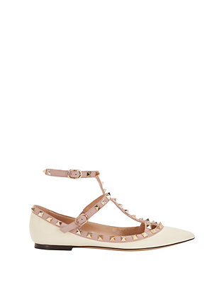 Rockstud Leather Ballet Cage Flat: Ivory