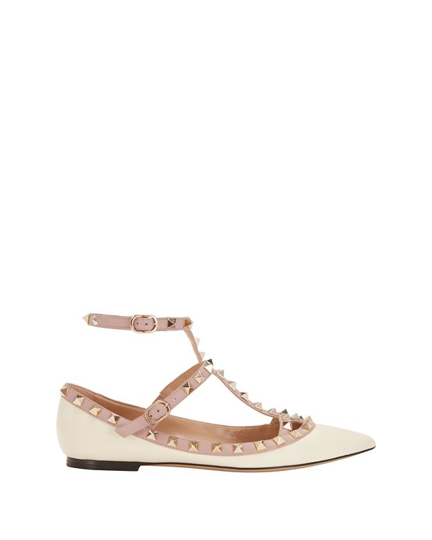 Valentino Rockstud Leather Ballet Cage Flat: Ivory