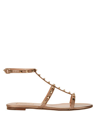 Valentino Rockstud Metallic Leather Ankle Strap Flat Sandal