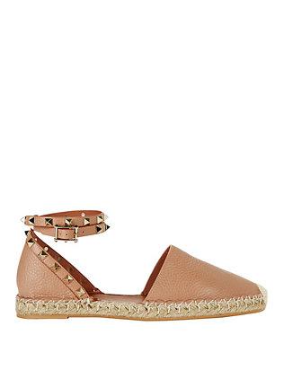 Rockstud Ankle Strap Flat Espadrilles: Blush