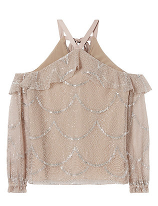 Alexis Kylie Lace Cold Shoulder Top