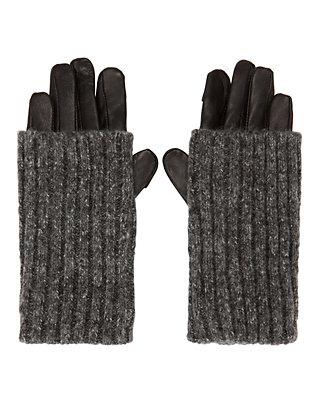 Carolina Amato Cable Knit Leather Combo Gloves