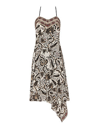 Barbara Bui Short Underlayer Silk Print Dress