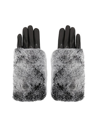 Carolina Amato Rex Rabbit Fur Top Full Leather Gloves