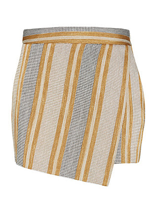 Barbara Bui Striped Metallic Skort