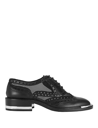 Barbara Bui Wing Tip Mesh Detail Oxfords