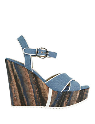Barbara Bui EXCLUSIVE Glazed Wood Denim Wedge