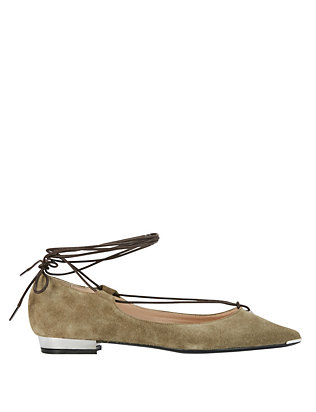 Barbara Bui Ankle Tie Suede Pointy Toe Flat: Green
