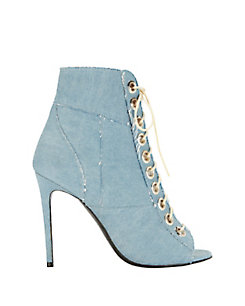 Barbara Bui Lace-Up Denim Patchwork Peeptoe Bootie