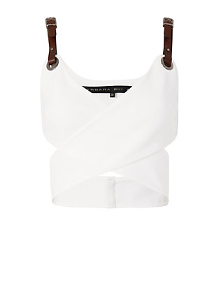 Barbara Bui Leather Strap Wrap Crop Top