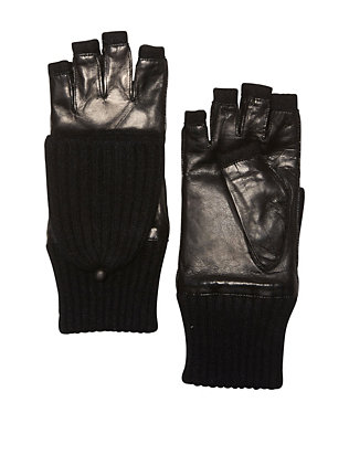Carolina Amato Pop Top Fingerless Gloves: Black