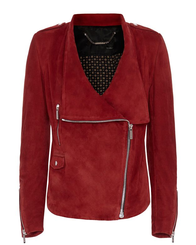 Barbara Bui Oversized Collar Suede Moto Jacket