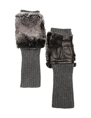 Carolina Amato Fingerless Knit/Rex Rabbit Fur Gloves
