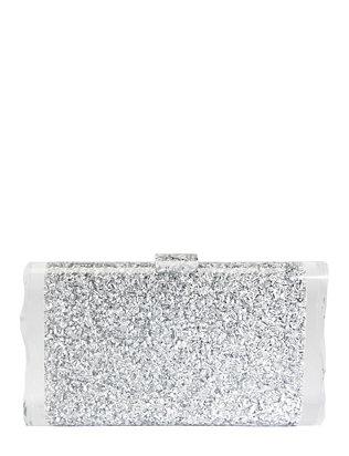 Lara Silver Confetti Box Clutch