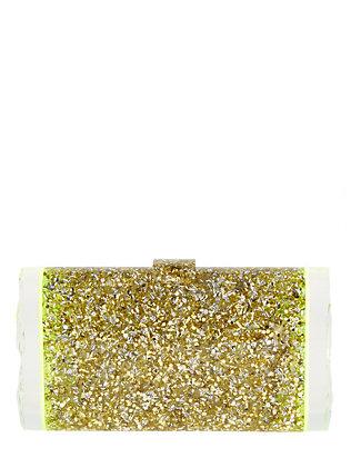 Lara Glow Ends Gold Confetti Clutch