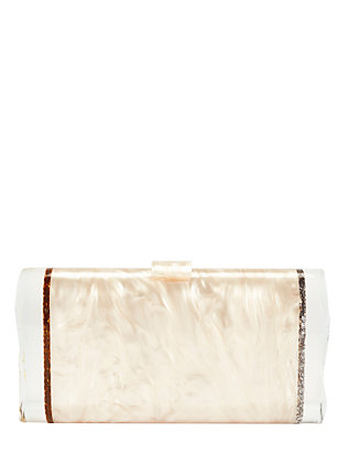 Lara Ice Ends Box Clutch: Nude