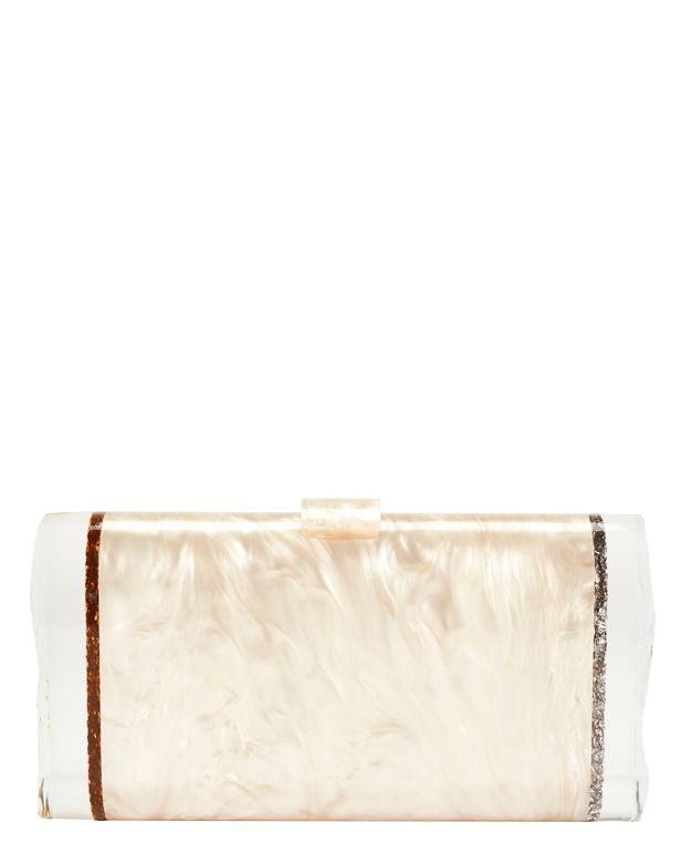 Edie Parker Lara Ice Ends Box Clutch: Nude