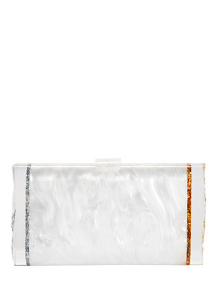 Edie Parker Lara Ice Ends Clutch: White