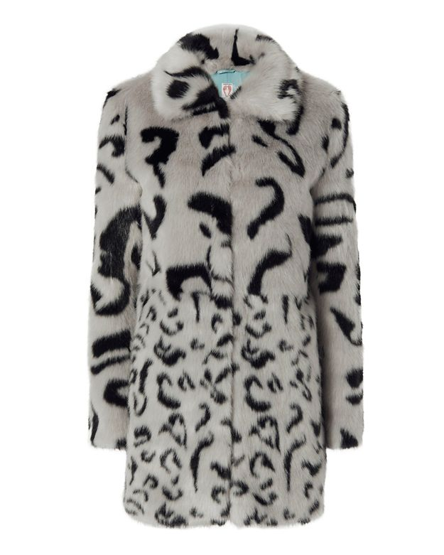 Shrimps Lassie Leopard Pattern Faux Fur Coat