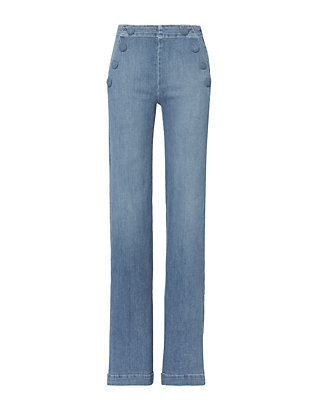 Le Capri Button Flare Jeans