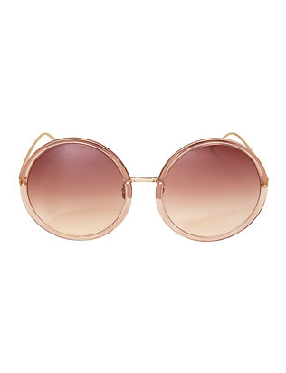 Linda Farrow Acetate Oversized Round Sunglasses: Rose