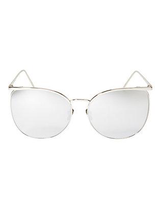 Oversized Trim Sunglasses: White Gold