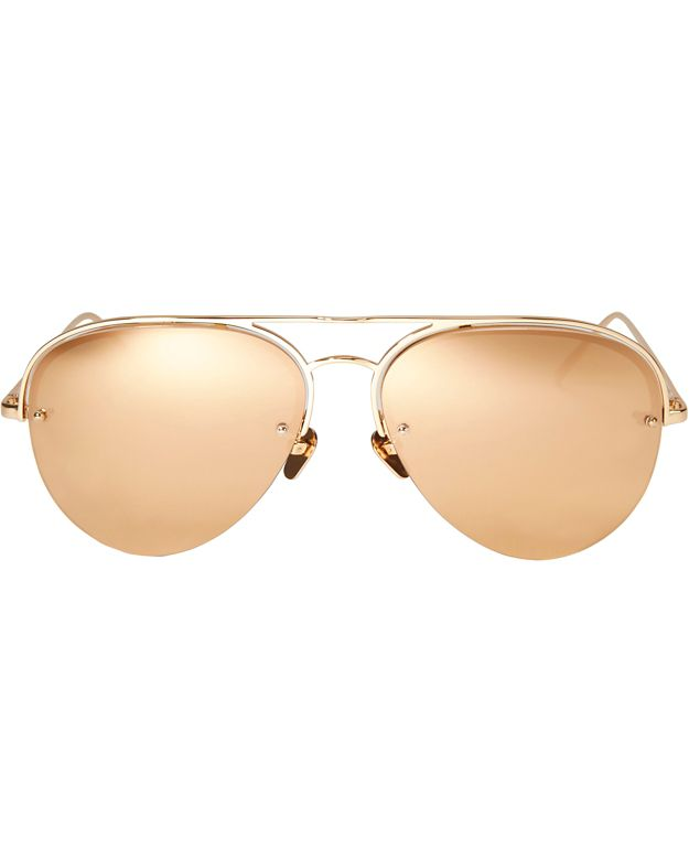 Linda Farrow Aviator Sunglasses: Gold