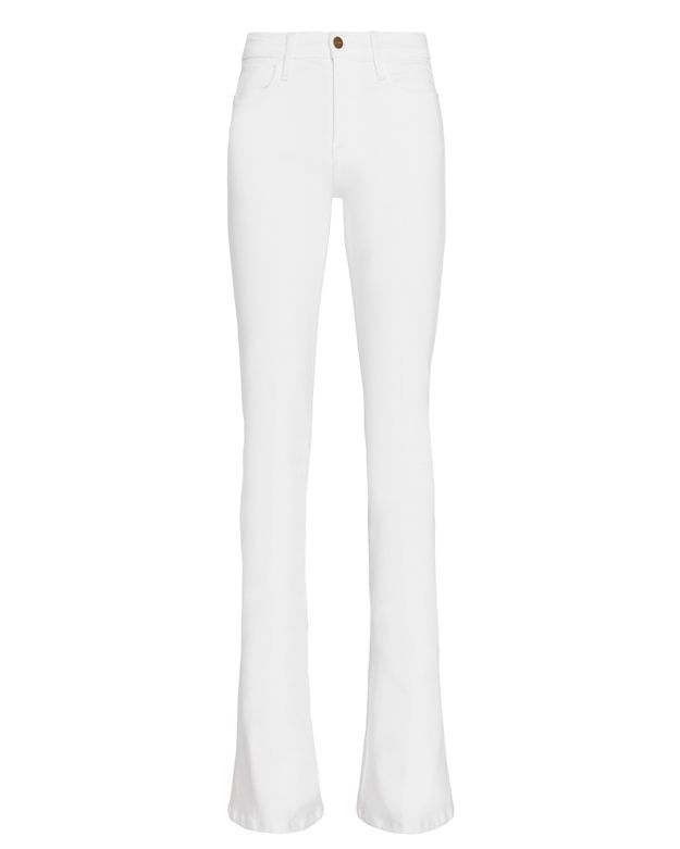 FRAME Le High Flare White Jeans