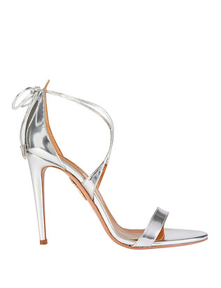 Aquazzura Linda Mirrored Silver Leather Sandals