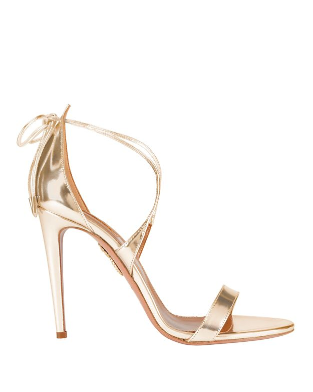 Aquazzura Linda Mirrored Leather Sandals