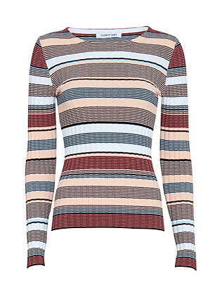 Elizabeth and James Striped Knit Top: Pink