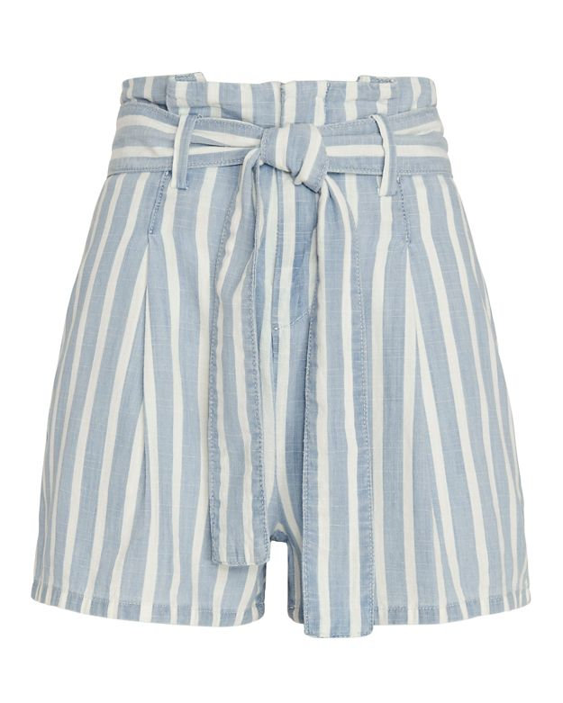 FRAME EXCLUSIVE Striped Paperbag Waist Shorts