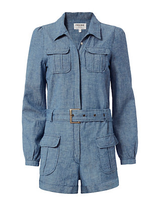 FRAME EXCLUSIVE Belted Chambray Romper