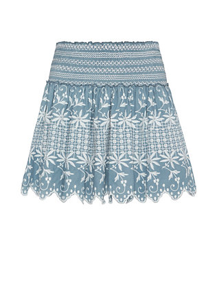 LOVESHACKFANCY Embroidered Flounce Beach Skirt